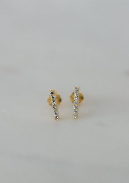 Sophie | Sparkle Bar Studs Clear - Gold