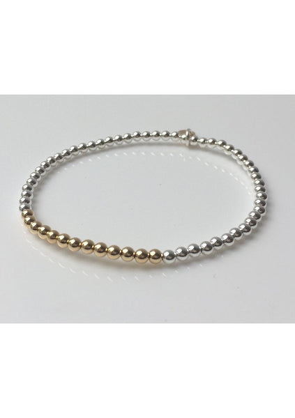 Dane | Gold Bar - Silver Bead Bracelet