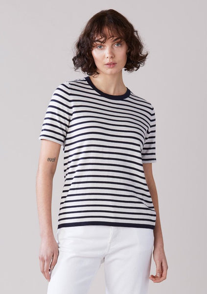 Laing | Jacques Knit T.Shirt - Ink and Chalk Stripe