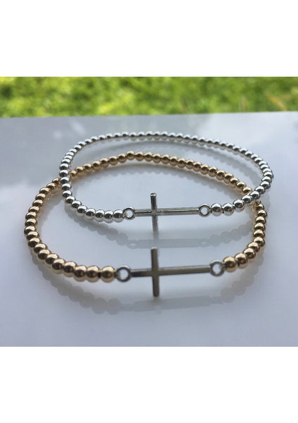 Dane | Silver Cross/Gold Bead Bracelet