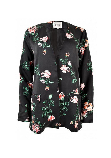 Second Female | Floral Blazer - Black