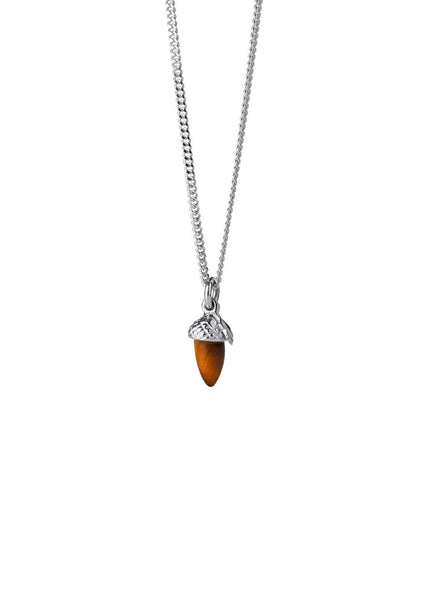 Karen Walker | Micro Acorn & Leaf Necklace 45cm - Sterling Silver