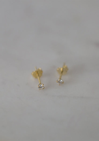 Sophie | Mini Rock Studs Clear - 14kt Gold Plated