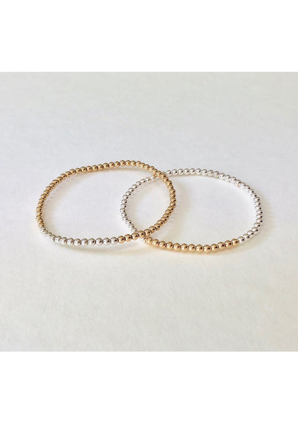 Dane | Silver Bead Bar - Gold Bead Bracelet