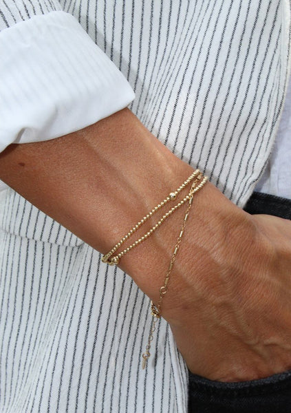Dane | Gold Bead Bracelet Double Wrap
