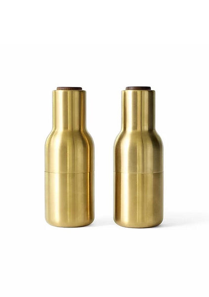 Menu | Bottle Grinder Set - Brushed Brass w Walnut Lid