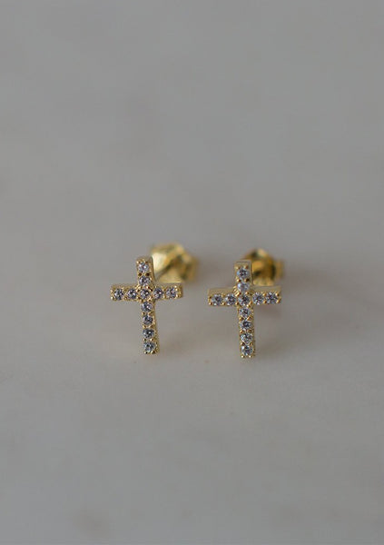 Sophie | Sparkle Cross Studs Clear - Gold
