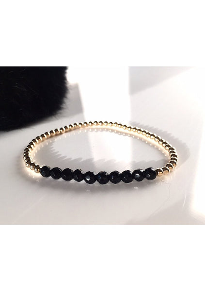 Dane | Rose Gold Bead - Onyx Bar Bracelet