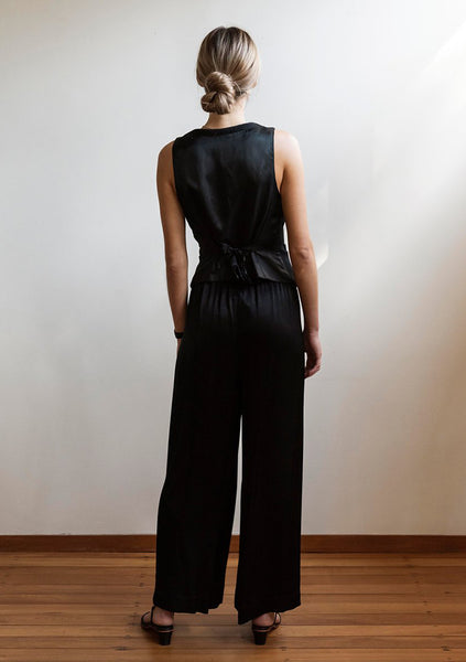 Mahsa | Resort Pant - Viscose Satin Black