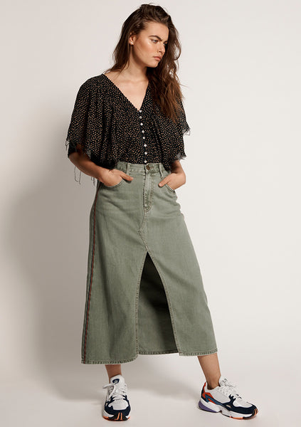 One Teaspoon | Rocko Long Length Skirt - Super Khaki