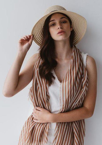 Sophie | Stripes Maxi Scarf - Toffee