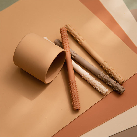 Gray burp towel teether set