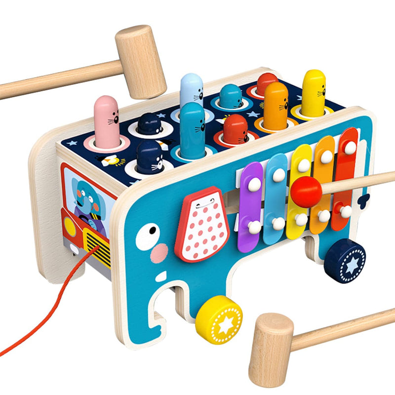 Blue silicone smiley elephant pacifier clip
