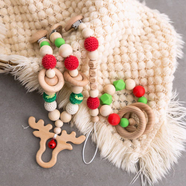 Christmas Elk Stroller Chain Green & Red - mamimamihome baby