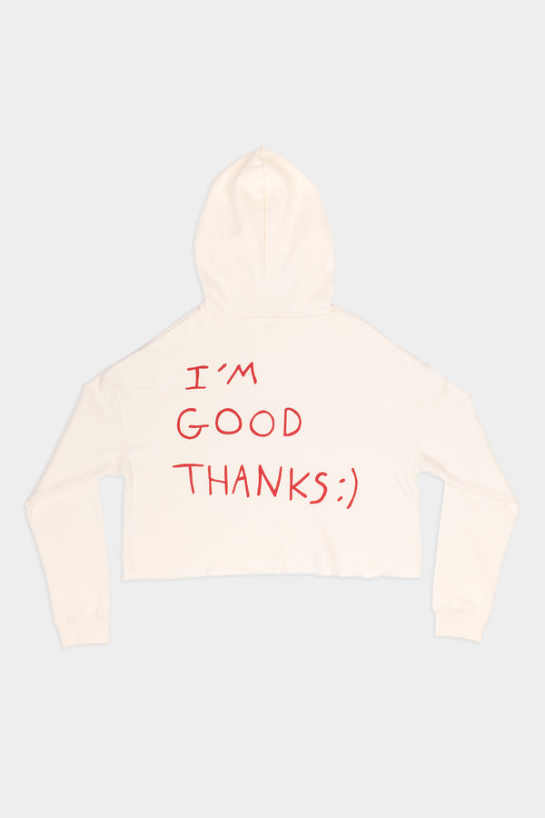 HI, HOW ARE YOU? CROP HOODIE - IVORY