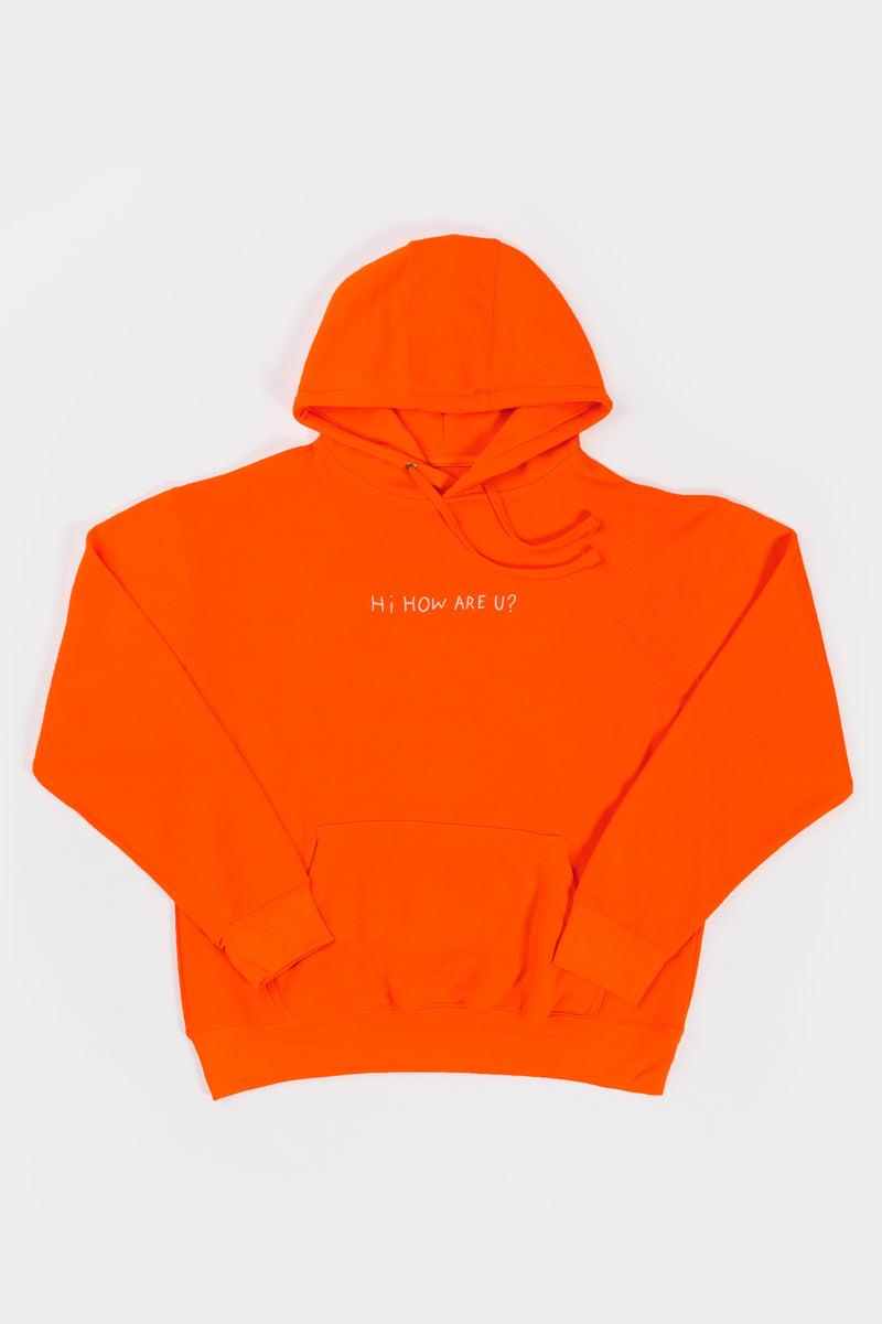 HI, HOW ARE YOU? HOODIE - NEON ORANGE