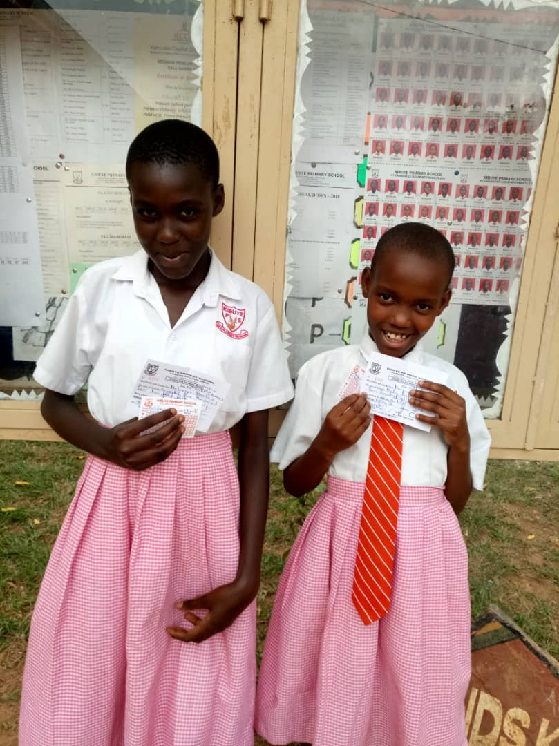 Patience and Noreen in Kibuye Primary School, Makindye District, Kampala, Uganda