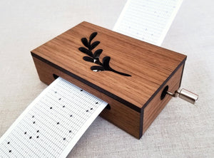 30-Note Music Box with Leaf Design