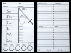 B/X Mini Character Sheets