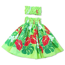 Load image into Gallery viewer, sweetie green girl pa'u hula skirt set