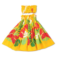Load image into Gallery viewer, sweetie yellow girl pa'u hula skirt set
