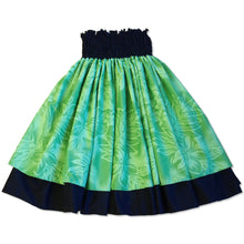 Load image into Gallery viewer, plumeria shadow green hawaiian traditional pa'u hula skirt