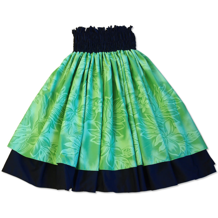 plumeria shadow green hawaiian traditional pa'u hula skirt