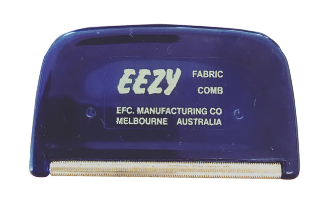 Hard plastic hand held tool, the Eezy Fabric Comb fits neatly into your hand. Has special brass teeth, that gently removes fuzz balls from your knits or furniture. Hand assembled in Australia.