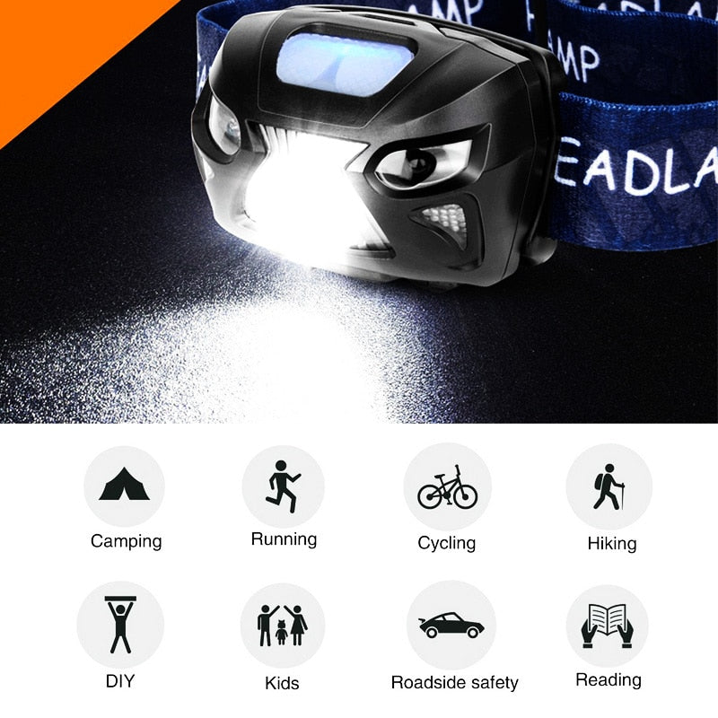 ZK20 Mini Rechargeable LED Headlamp Body Motion Sensor Headlight dropshipping Camping Flashlight Head Light Torch Lamp - The Collextion