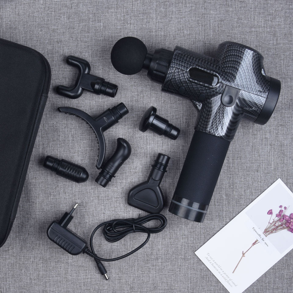 7 Heads & 30 Speeds Handheld Muscle Massage Gun Percussive Deep Tissue Massage Gun Body Neck Pain Massager Fascia Gun