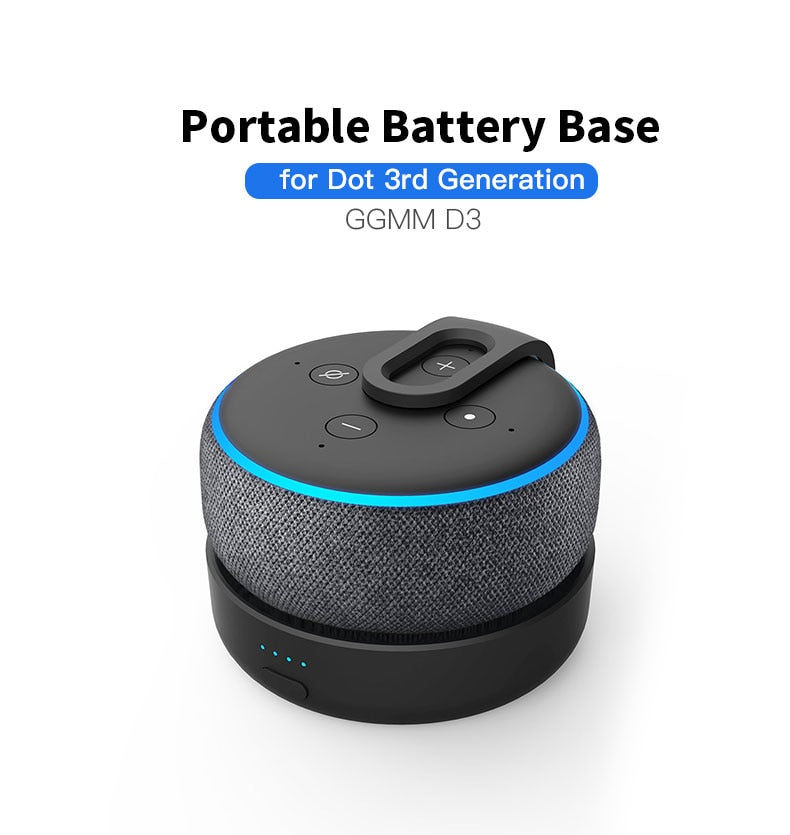 GGMM Original Portable Battery Base For Amazon Echo Dot 3rd Gen Rechargable Docking Station For Alexa Speaker with 8 Hours Play