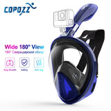 COPOZZ- Anti-Fog Anti-Leak 180° Large View New Foldable Snorkeling Mask Full Face with Detachable GoPro Mount