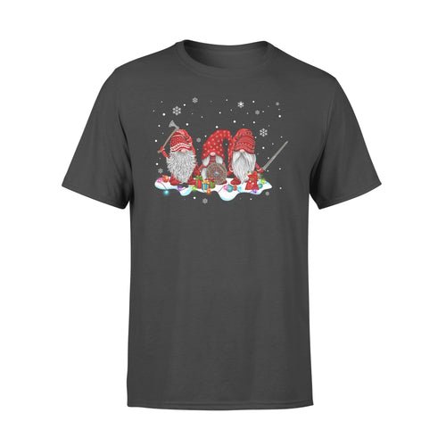 Norse Mythology Viking Gnomies Christmas Funny Red Gnome Dwarf Shirt For Sale - Standard T-shirt Apparel S / Black