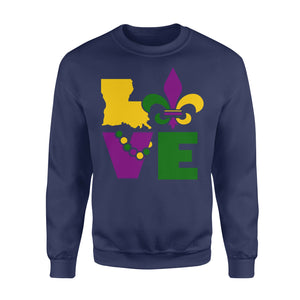 I Love Mardi Gras Holiday - Standard Fleece Sweatshirt Apparel S / Navy