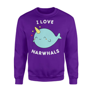 I Love Narwhals Cute - Standard Fleece Sweatshirt Apparel S / Purple