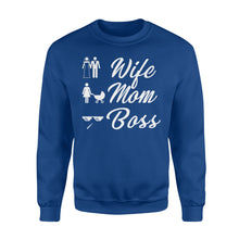 Load image into Gallery viewer, Wife Mom Boss Funny - Standard Fleece Sweatshirt Apparel S / Royal
