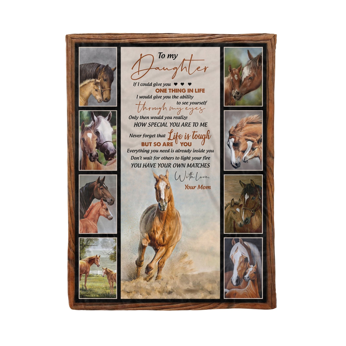 Daughter From Mom Blanket Wild Horse Lovers Family Birthday Matching Gift - Fleece Blanket