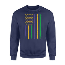 Load image into Gallery viewer, US Mardi Gras Flag Fat Tuesday Tees - Standard Fleece Sweatshirt Apparel S / Navy