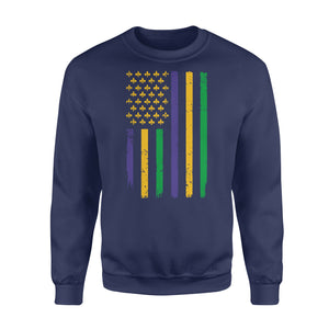 US Mardi Gras Flag Fat Tuesday Tees - Standard Fleece Sweatshirt Apparel S / Navy