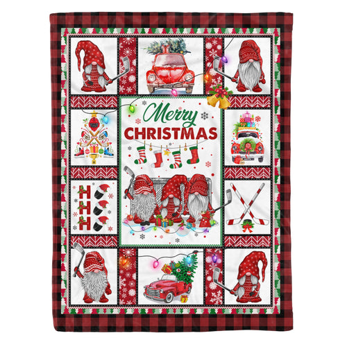 Family Christmas Blanket Santa Ice Hockey Gnome Hockey Xmas With Sayings Design - Fleece Blanket Home Large (60x80in)
