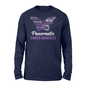 Never Ever Giving Up Hope Pancreatic Cancer - Standard Long Sleeve Apparel S / Navy