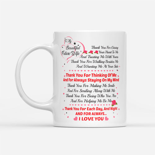 Future Wife Floral Mug From Future Husband Couples Engagement Quote - White Mug Drinkware 11oz