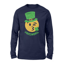 Load image into Gallery viewer, Mens Womens Irish Girl St Patricks Day Paddys Day Shirts - Standard Long Sleeve Apparel S / Navy