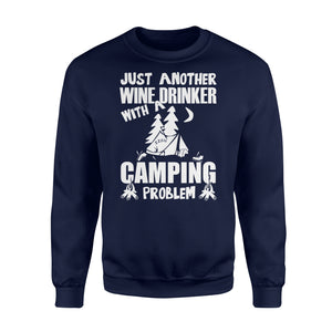 Just Another Wine Drinker Camping Problem Outdoor - Standard Fleece Sweatshirt Apparel S / Navy