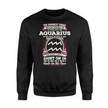 Load image into Gallery viewer, The Dumbest Thing You Can Possibly Do Is Piss Off An Aquarius Birthday - Standard Fleece Sweatshirt Apparel S / Black