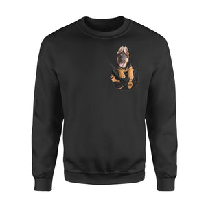 Funny Graphic Dog In Pocket Themed Shirts German Shepherd Puppy Owners Gift - Standard Fleece Sweatshirt Apparel S / Black