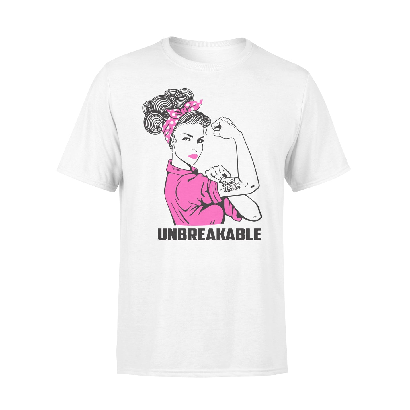 Breast Warrior Unbreakable - Breast Cancer Awareness - Standard T-shirt Apparel S / White