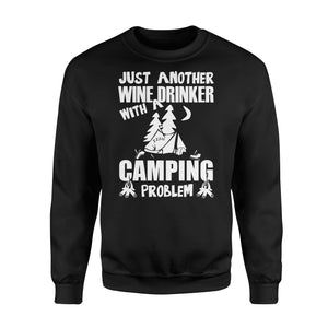 Just Another Wine Drinker Camping Problem Outdoor - Standard Fleece Sweatshirt Apparel S / Black