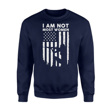 Load image into Gallery viewer, I Am Not Most Women Hunter Girls - Standard Fleece Sweatshirt Apparel S / Navy