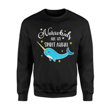 Load image into Gallery viewer, Narwhals Are My Spirit Animal - Standard Fleece Sweatshirt Apparel S / Black